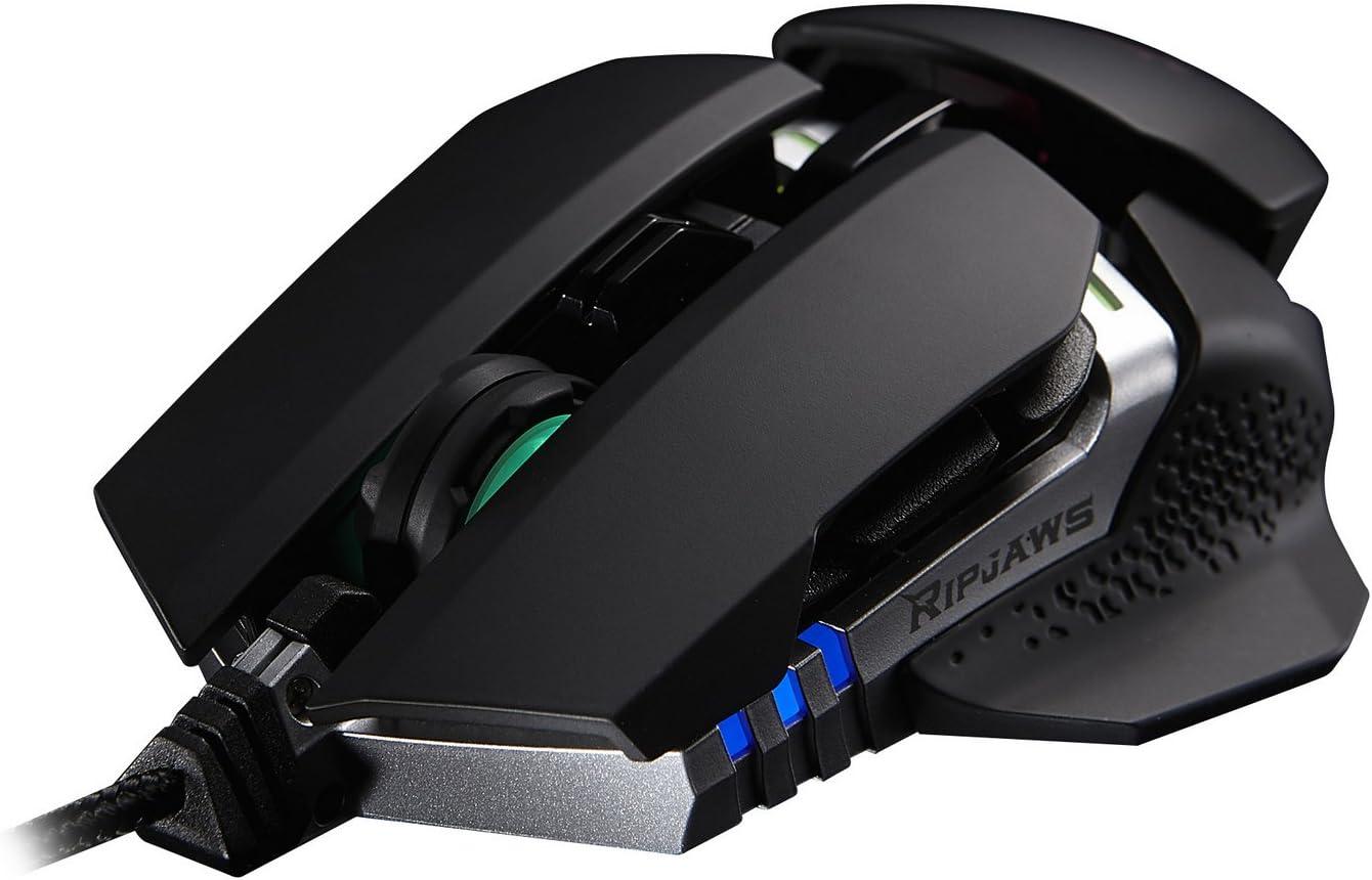 G.Skill RIPJAWS MX780 RGB USB Laser 8200DPI Negro, Plata Ambidextro - Ratón (USB, Juego, Pressed buttons, Rueda, Laser, Cable)