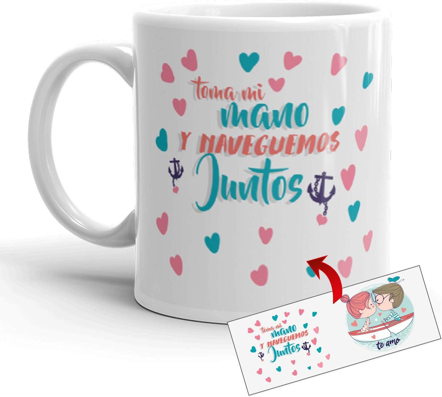 Kembilove Taza de café para Pareja de Enamorados - Taza Toma mi Mano y naveguemos Juntos Regalo Original para Novios y Novias San Valentín - Taza de Desayuno para Regalar Enamorados, Cumpleaños