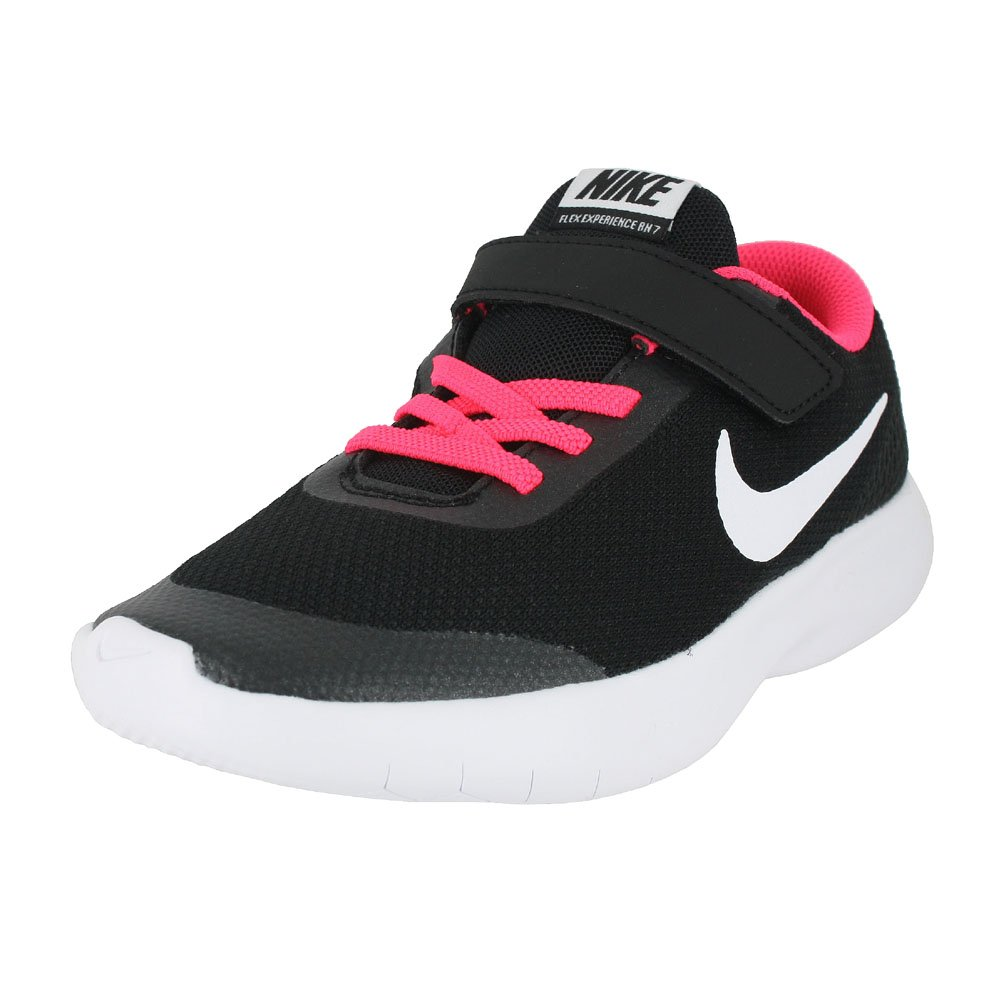 Nike Kids Flex Experience RN 7 (PS) Running Shoes (1 M US Little Kid, Black White Racer Pink)
