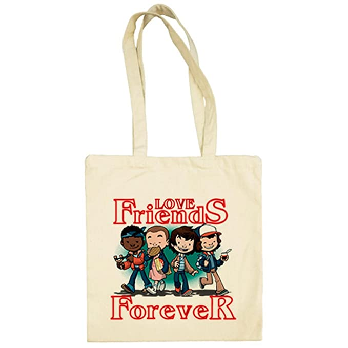 Bolsa de tela Stranger Things Love Friends Forever - Beige ...
