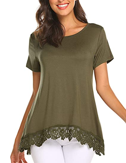 be66f079c2d Women s Tops Short Sleeve Lace Trim A-Line Tunic Blouses for Leggings Army  Green S