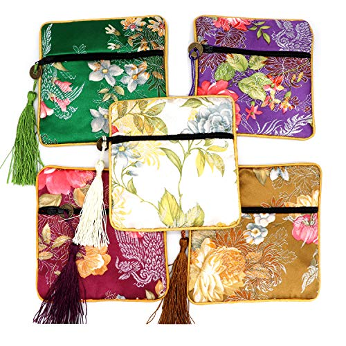 Outman 5 Pcs Chinese Silk Brocade Embroidered Jewelry Pouch Bag Coin Purses Gift Bag Zipper Pocket (Color 2)