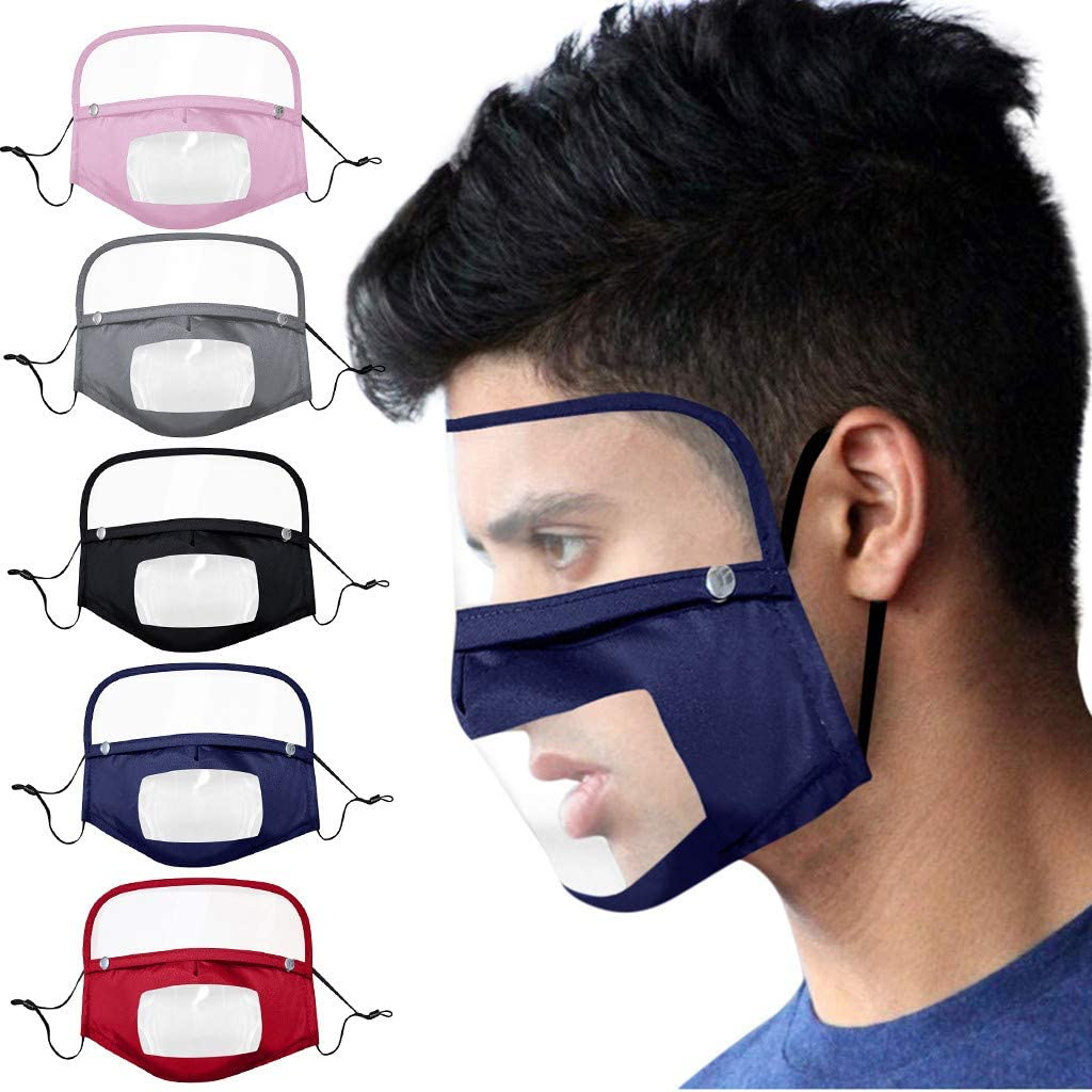 Haze Dust Face Health for Man Women Outdoor Dapei Face Bandanas with Clear Window Transparent Mini Shield Washable Reusable PVC Visual Mouth Protection