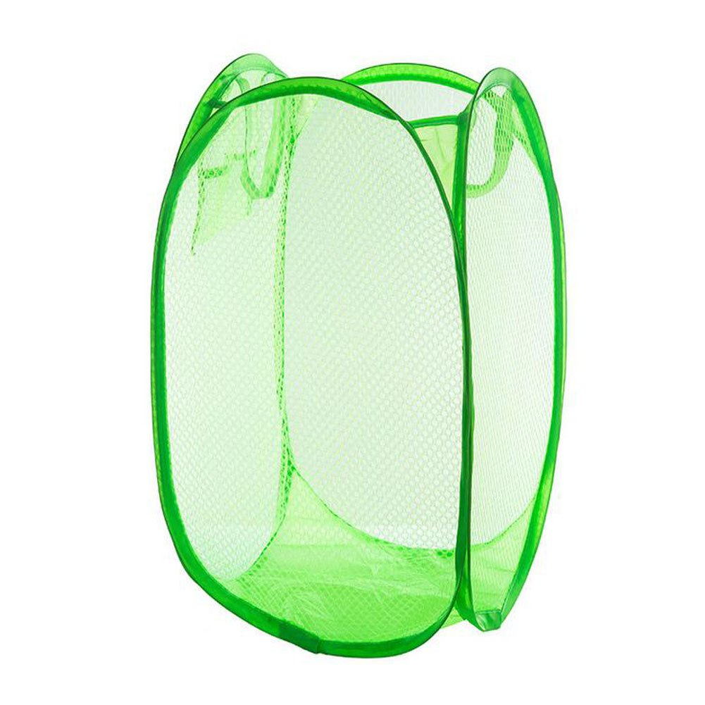 Yuccer Mesh Popup Laundry Hamper Bags, Foldable Dirty Clothes Hamper Basket for Home Travel Storage Organizer (Green)