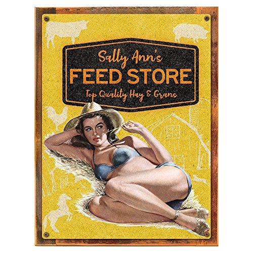 Sign Tin Feed Store (Framed, Outdoor Sally Ann's Feed Store 18