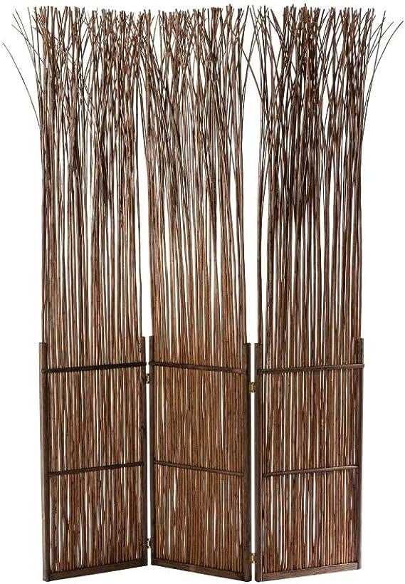ARREDinITALY Paraviento 3 Puertas de Mimbre y Abeto marrón 120 x ...