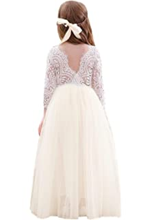 0f83c7660 2Bunnies Girl Peony Lace Back A-Line Straight Tutu Tulle Party Flower Girl  Dresses