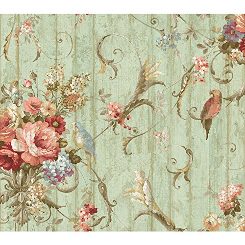 Prints Cottage Wallpaper - York Wallcoverings Floral Bouquet Removable Wallpaper