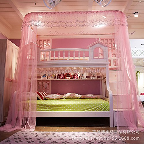 De Qw U Type Court Bunk Bed Mosquito Net Bed Canopy  Rail Type Children Bunk Bed Nets 50D Encryption Account Yarn Mosquito Curtain Pink Queen1