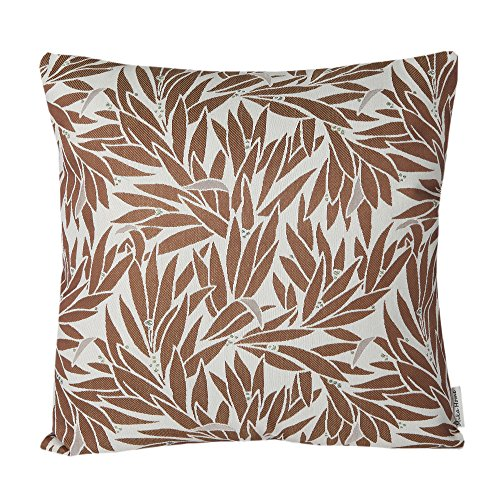 Bamboo Decorative Pillow (Mika Home Jacquard Bamboo Leaf Pattern Accent Throw Pillow Case Spring Decorative Cushion Cover for 18X18