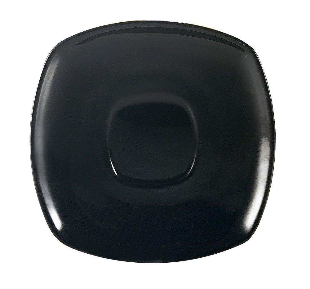 CAC China KC-2-BLK Color Arts 6-Inch Black Stoneware Square Saucer, Box of 36