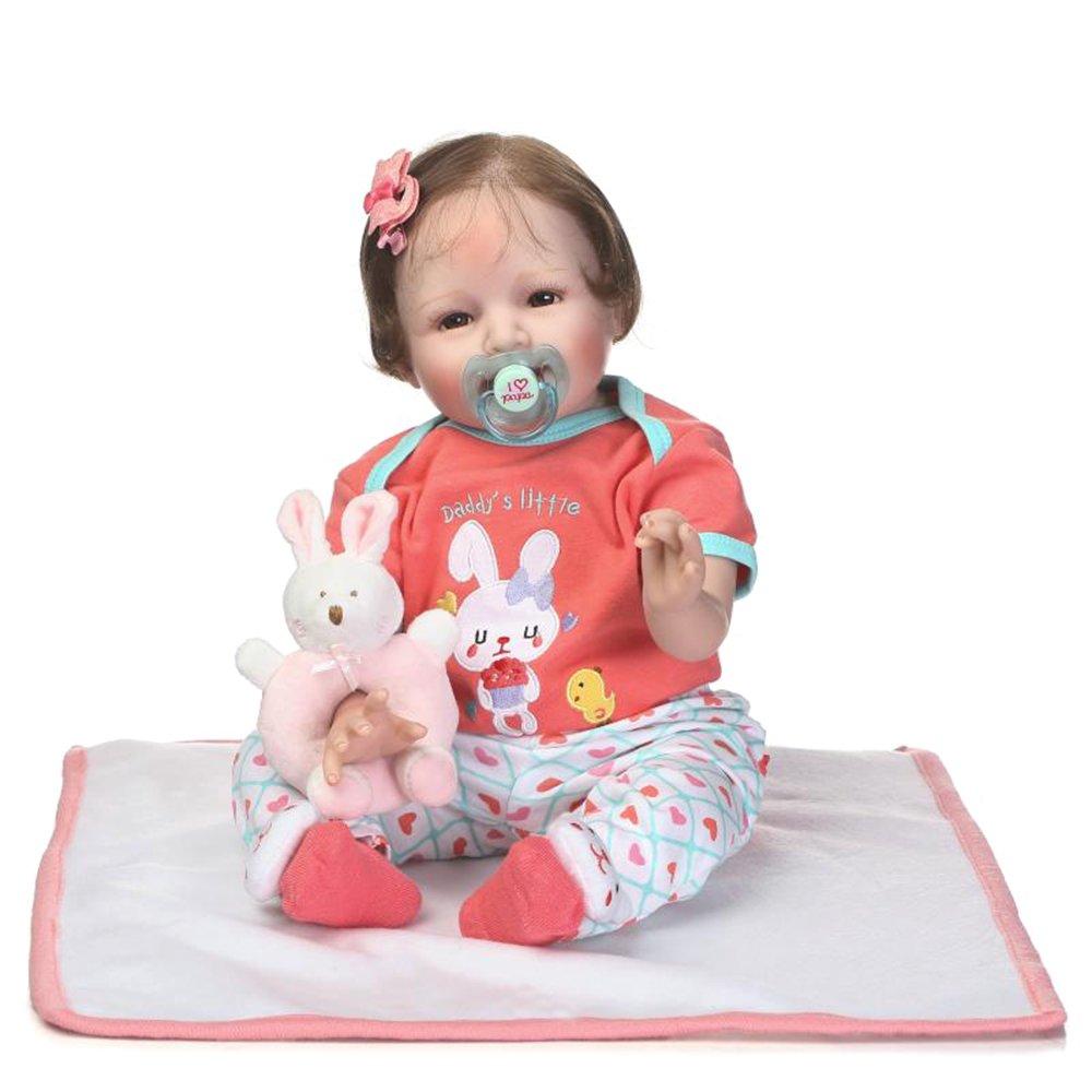 "decdeal 22 "" Rebirthベビー人形、Like Real Life新生児かわいいベビーガール人形ギフトwith Rabbit Hand Bell   B07DGY6TT9"