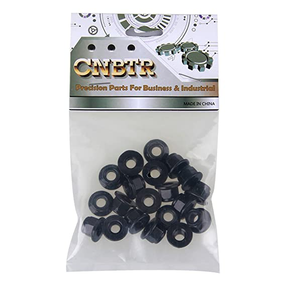CNBTR Black M4 Zinc Plating Nylon and Carbon Steel Hex Flange Lock Nut Pack of 30