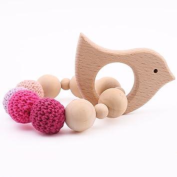 Baby Tete Holz Beißring Armband Bio Rassel Tier Geformt Montessori