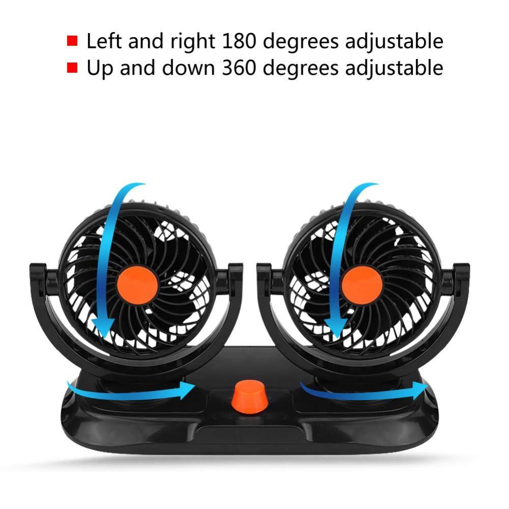 Ventola di Raffreddamento per Auto a Doppia Testa 24V Potente Muto Dual Head 360 Rotating e Due Velocit/à Regolabile Raffreddamento Aria Ventilatore Adatta Alla Maggior Parte Della di Furgoni