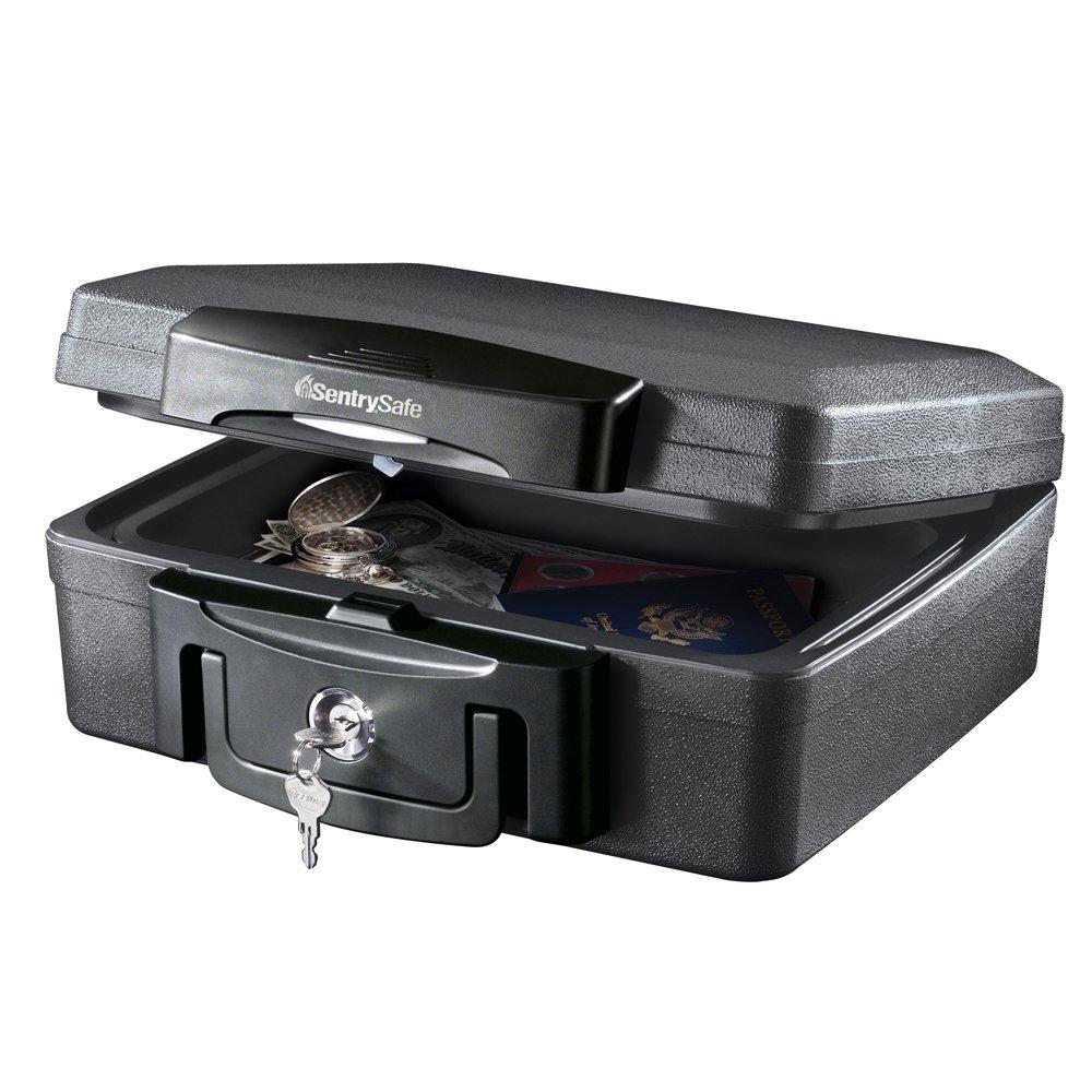 SentrySafe H0100 Fireproof Waterproof Box with Key Lock, 0.17 Cubic Feet, Black by SentrySafe