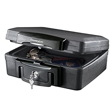 SentrySafe H0100 Fireproof Waterproof Box with Key Lock, 0.17 Cubic Feet, Black
