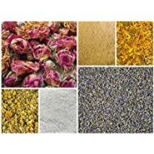 DIY Herbal Sampler-Dried Flowers and Herbs Bonus Dead Sea Salt Great for Bath Bombs, Soap Making, Soaks and Ritual, Lavender Red Rose Chamomile Calendula, Great for Teas All Natural Food Grade Organic