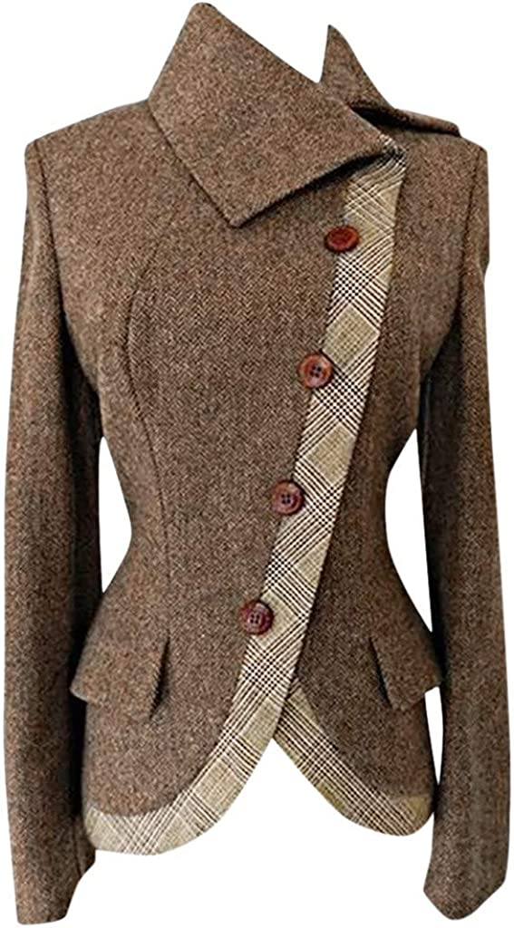Spring Color Women Winter Elegant Long Sleeve Vintage Lapel Wool Blend Button Plaid Print Trench Jacket Coat Blazer 61Ofl4B48CL