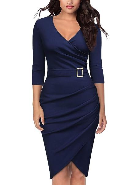Amazon.com: Knitee vestido formal de cóctel con cuello en V ...