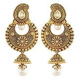 Royal Bling Multicolor Metal Pearl Chandbali Dangle & Drop Earrings For Women