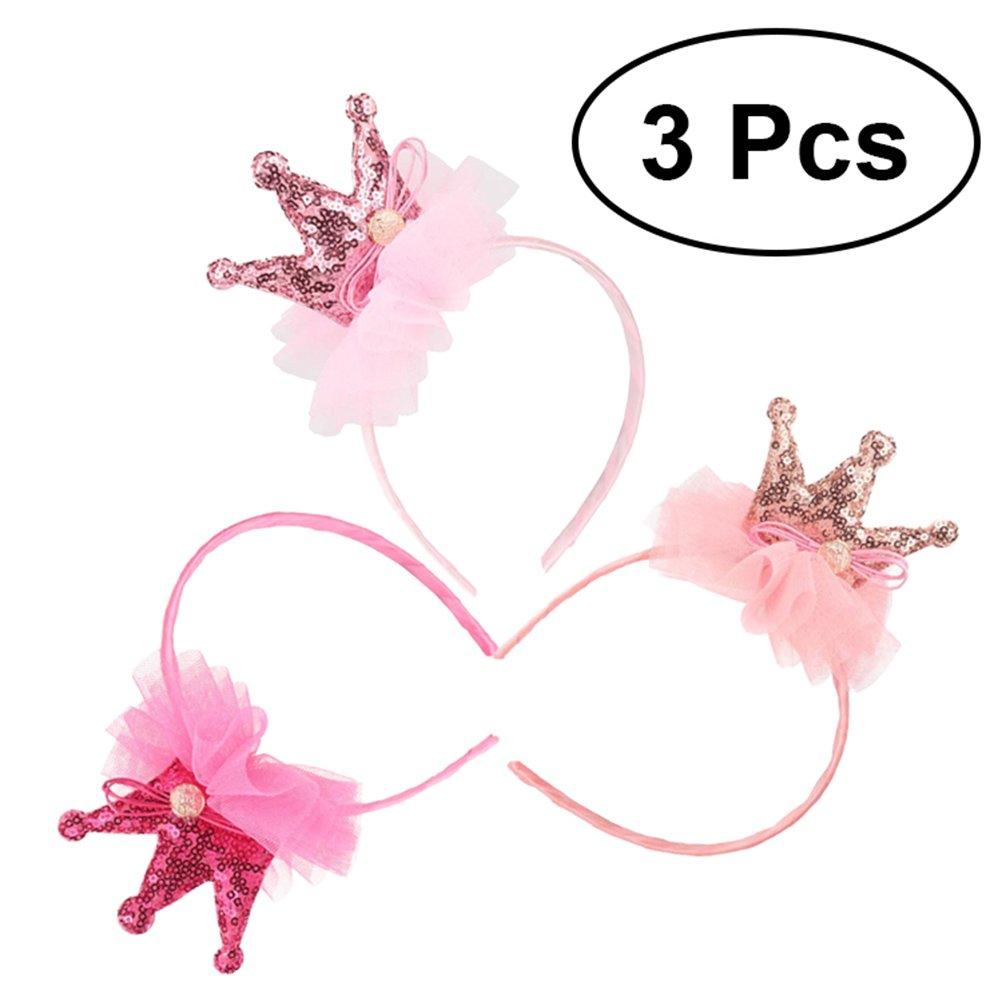 Frcolor - 3 diademas para niñas, diseño de princesa, corona, para disfraz de fiesta