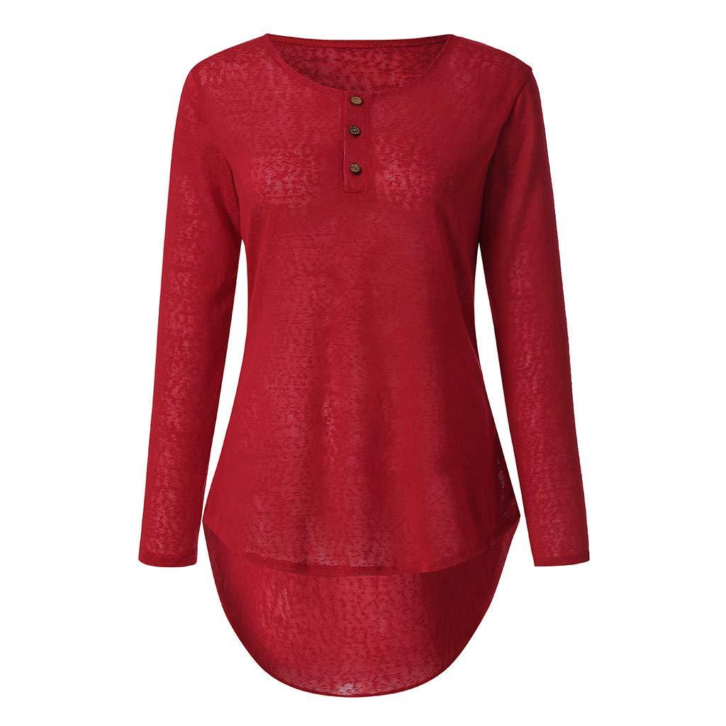 AxiBa-Women's Casual Color Block Long Sleeve Loose Basic Swing Pocket Shift Dress(Red,XXL)
