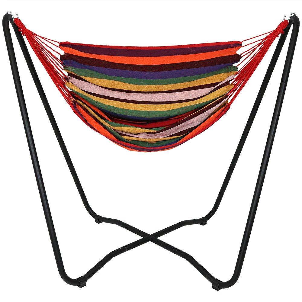 Sunnydaze Hanging Rope Hammock Chair Swing Space Saving Stand, Beach Oasis Indoor Outdoor Patio, Yard, Porch Bedroom Sunnydaze Decor