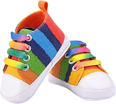Believed Boys Girls Classic Canvas Sneaker High Top Lace up Infant First Walker Crib Shoes