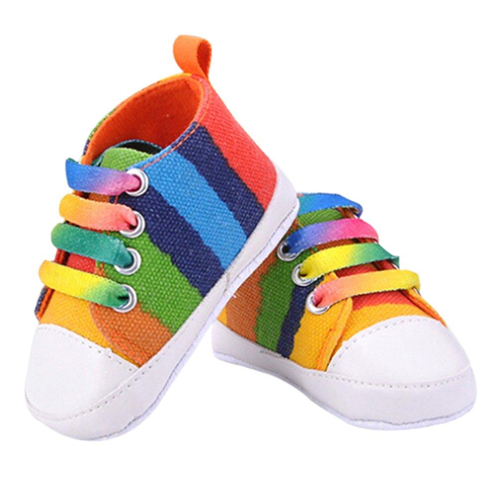 Newborn Canvas Soft Prewalkers Infant Anti-Slip Shoes - 12cm Rainbow
