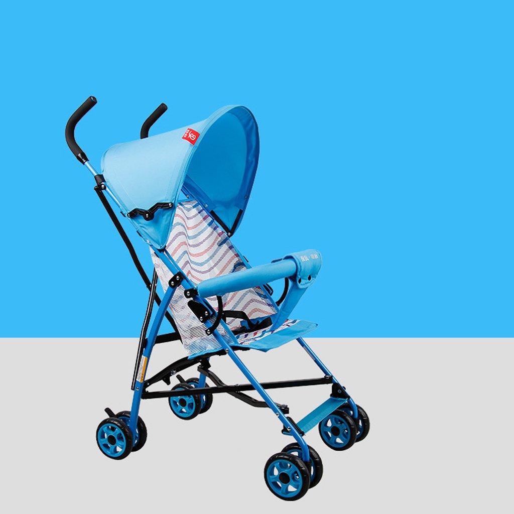 ベビーカー超軽量ポータブル折りたたみ式ベビーカー(青)(紫)58 * 37 * 108cm ( Color : Blue ) B07BTSV244