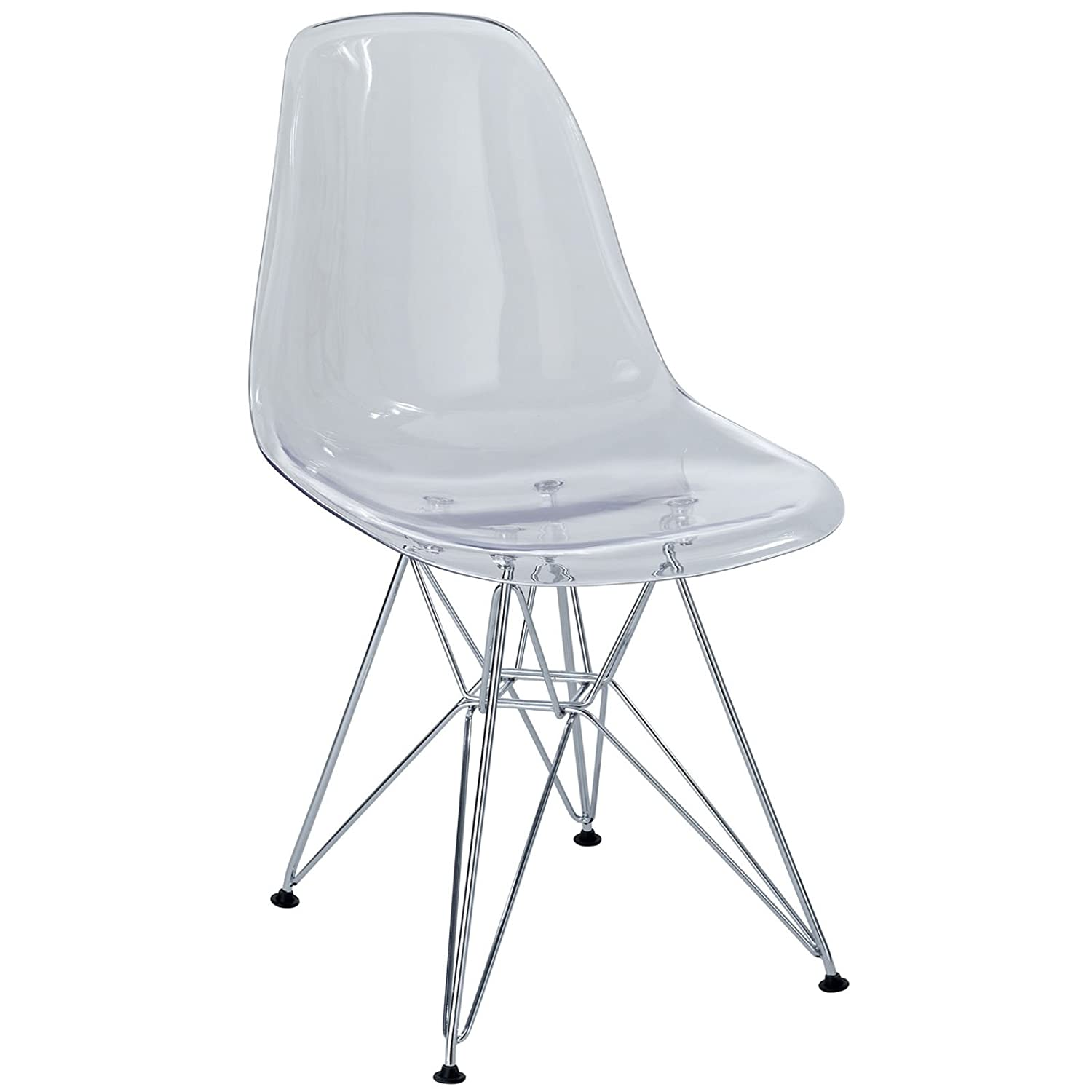 Amazon.com   Modway Paris Mid Century Modern Side Chair With Steel Metal  Base In Clear   Chairs
