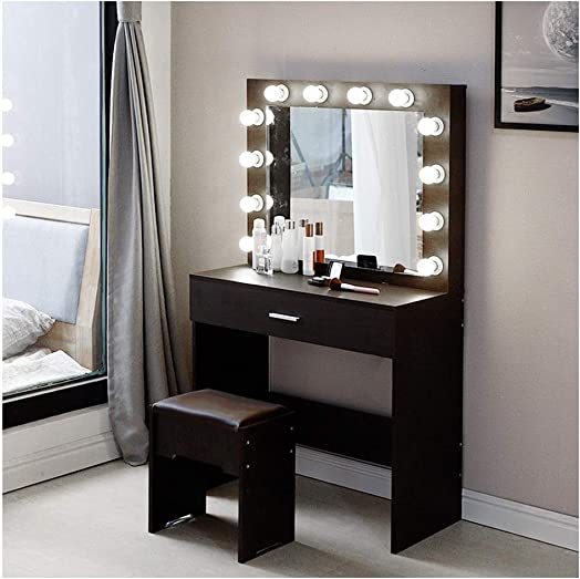 Vanity Set with Lighted Mirror, Make up Desk with Lighted Mirror