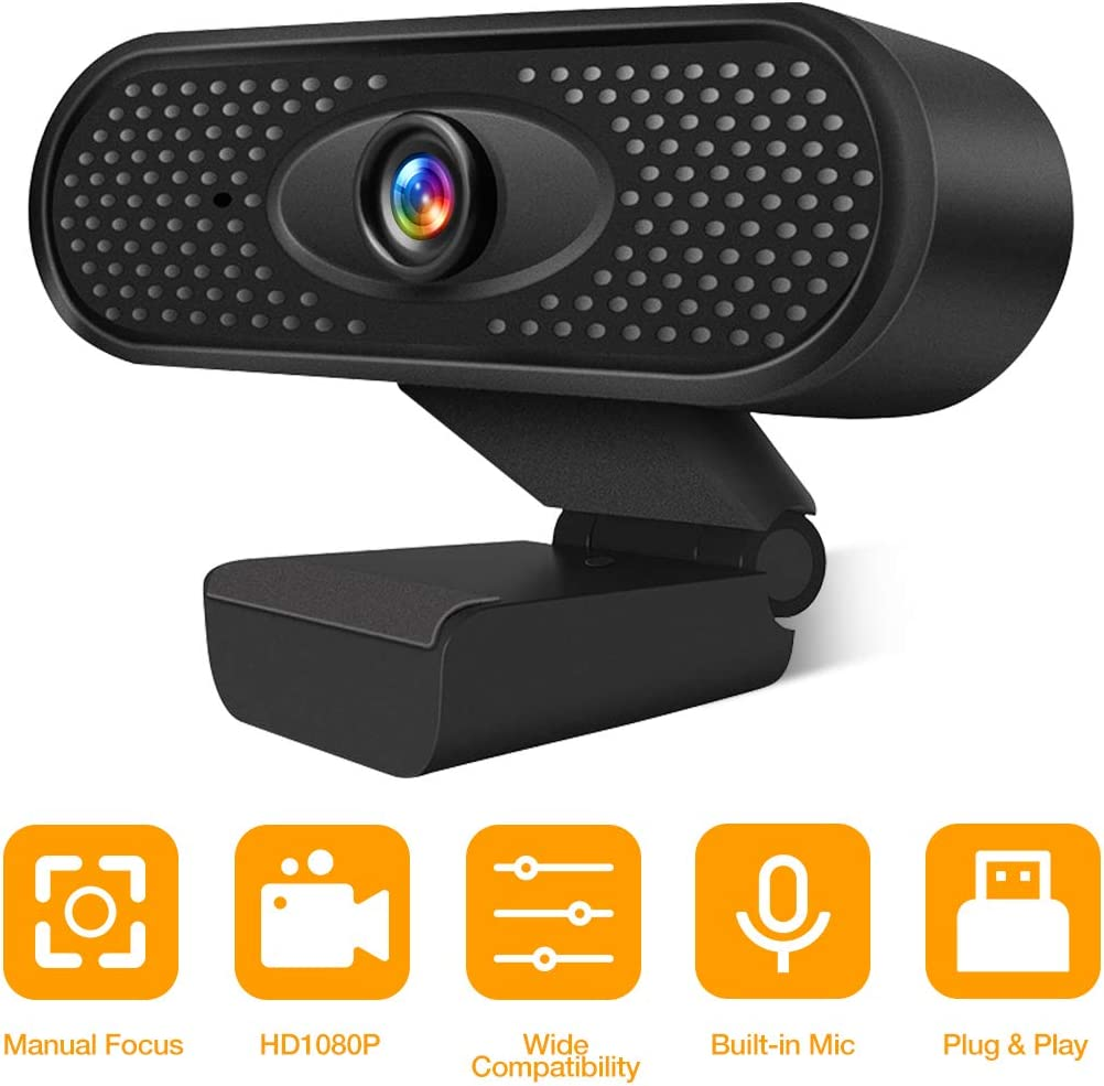 Webcam HD 1080P USB Camera PC Camera with Internal Microphone for Online Meetings Plug and Play Face Camera with Manual Focus for PC, Desktop or Laptop: Electronics