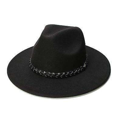 b68a86acd6 Women Men Vintage Fedora 100% Wool Wide Brim Cap Panama Jazz Bowler ...