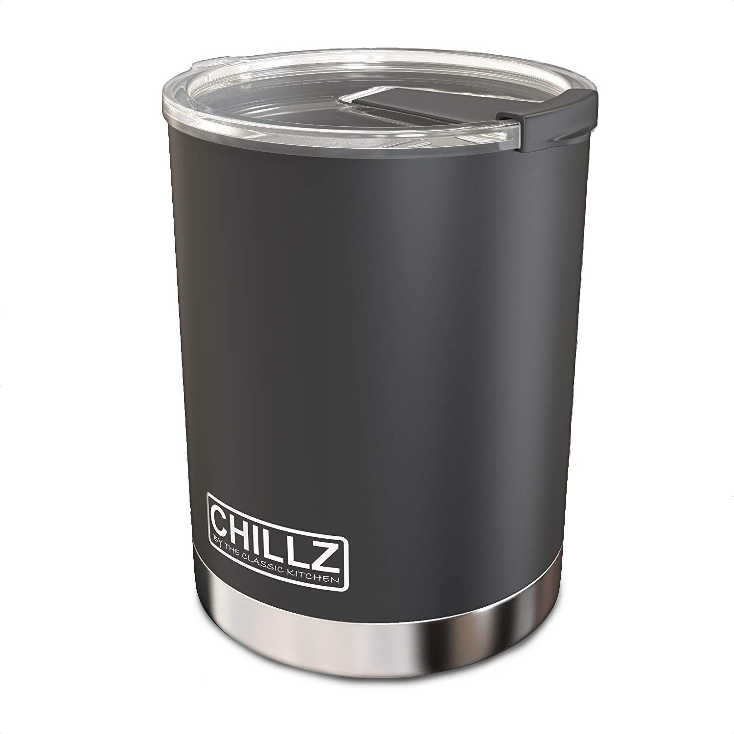 Chillz Stainless Steel Vacuum Insulated Tumbler with Spill Proof Lid - 10 oz - Black