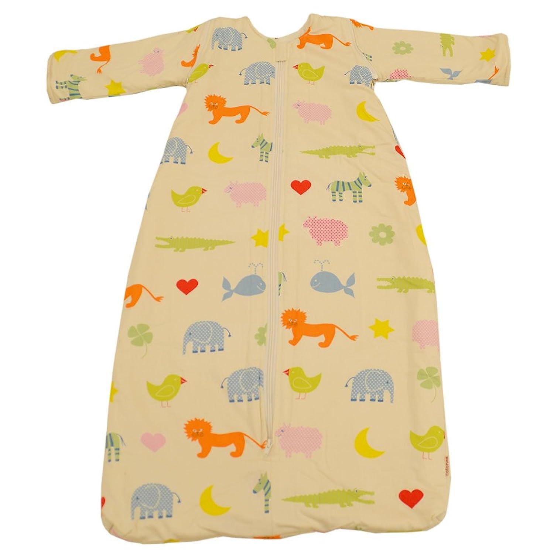 Cotonea, Schlafsack mit Plüschfutter und abnehmbaren Ärmel, 70cm, Motiv Kritzelkreise, Bio Baumwolle