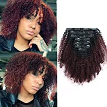 Sassina Virgin Brazilian Human Hair Extensions Clip in Hair Wefts For African Americans Black Women Natural Black Fading into Cherry Wine 120 Grams-Set With 7 Pieces 17 Clips AC TN99J 16 Inch