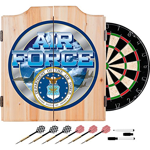 US Air Force Design Deluxe Solid Wood Cabinet Complete Dart Set by TMG