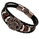 "Amazon Price History for:PopJ Handmade Leather Bracelet Triple Band Clasp Bangle 7.8"""