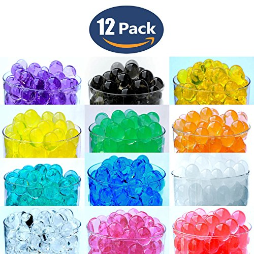 12 Pack Combo Sooper Beads Decoration Vase Filler - Water Beads Gel - 12 Colors - 5 grams per pack make over a quart per pack - Wedding Decoration Vase Filler - Furniture Decorative Vase Filler - ALMOST 3 GALLONS of BEADS TOTAL (Floral Beads)