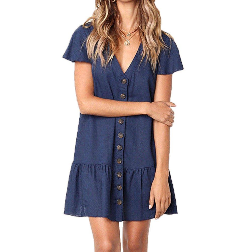 wodceeke Women's V-Neck Flare Short Sleeve Dress Button Sundress Boho Casual Mini Dresses(Navy,L)