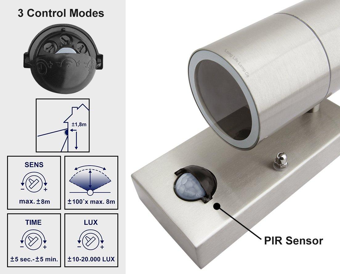 PIR Stainless Steel Up Down Outdoor Wall Light With Movement Sensor ZLC0204 IP65 eBay