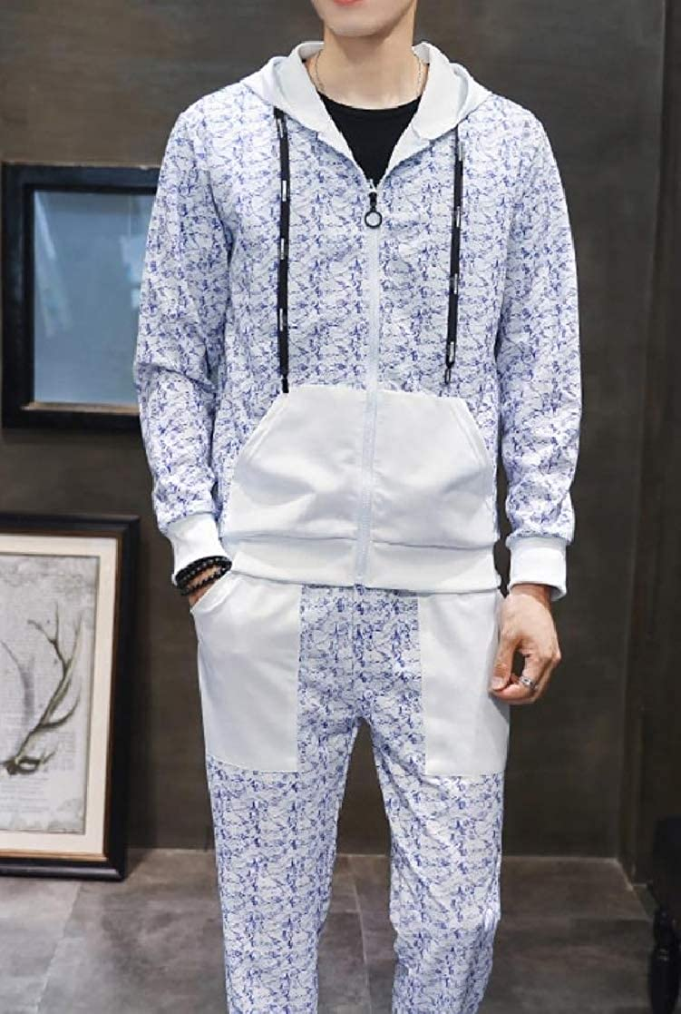 YUNY Men Comfort Slim-Tapered Pocket Hooded Zip Floral Tracksuit Outfit White S