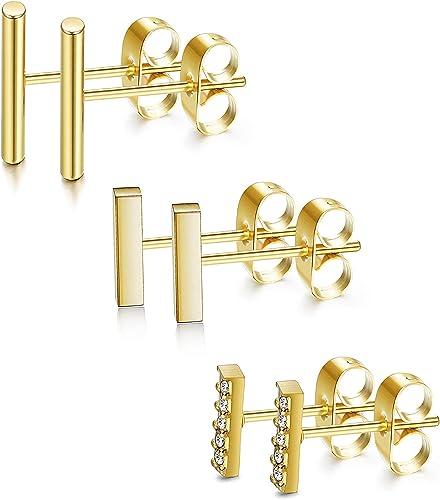 Finrezio 12 Paires Boucles doreille en Acier Inoxydable Perle CZ pour Femme Fille G/éom/étrique Carr/é//Triangle//Rond///Étoile//Coeur