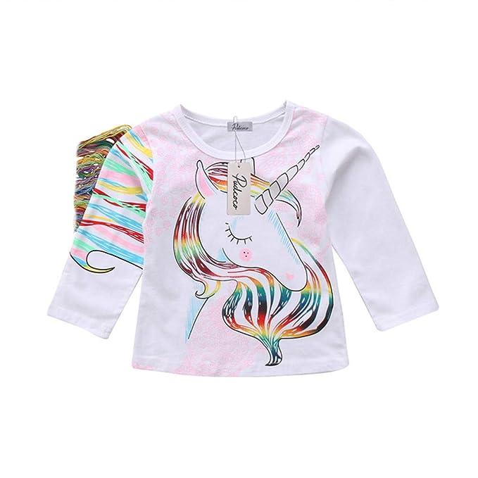445d20d4f Amazon.com: Kids Baby Girl Unicorn T Shirt Long Sleeve Tees Toddler Cotton  Tops T-Shirts: Clothing