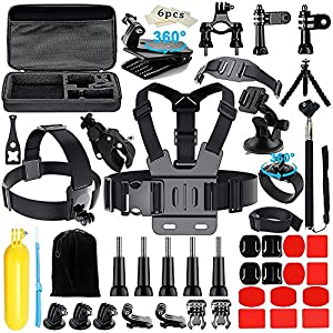 Iextreme Accessories for Gopro 6 5 4 3, Accessory Bundles with Chest Harness/Tripod for Skiing Running Bike Riding Camping Racing Field Survival Skateboarding Roller Skating Parkour