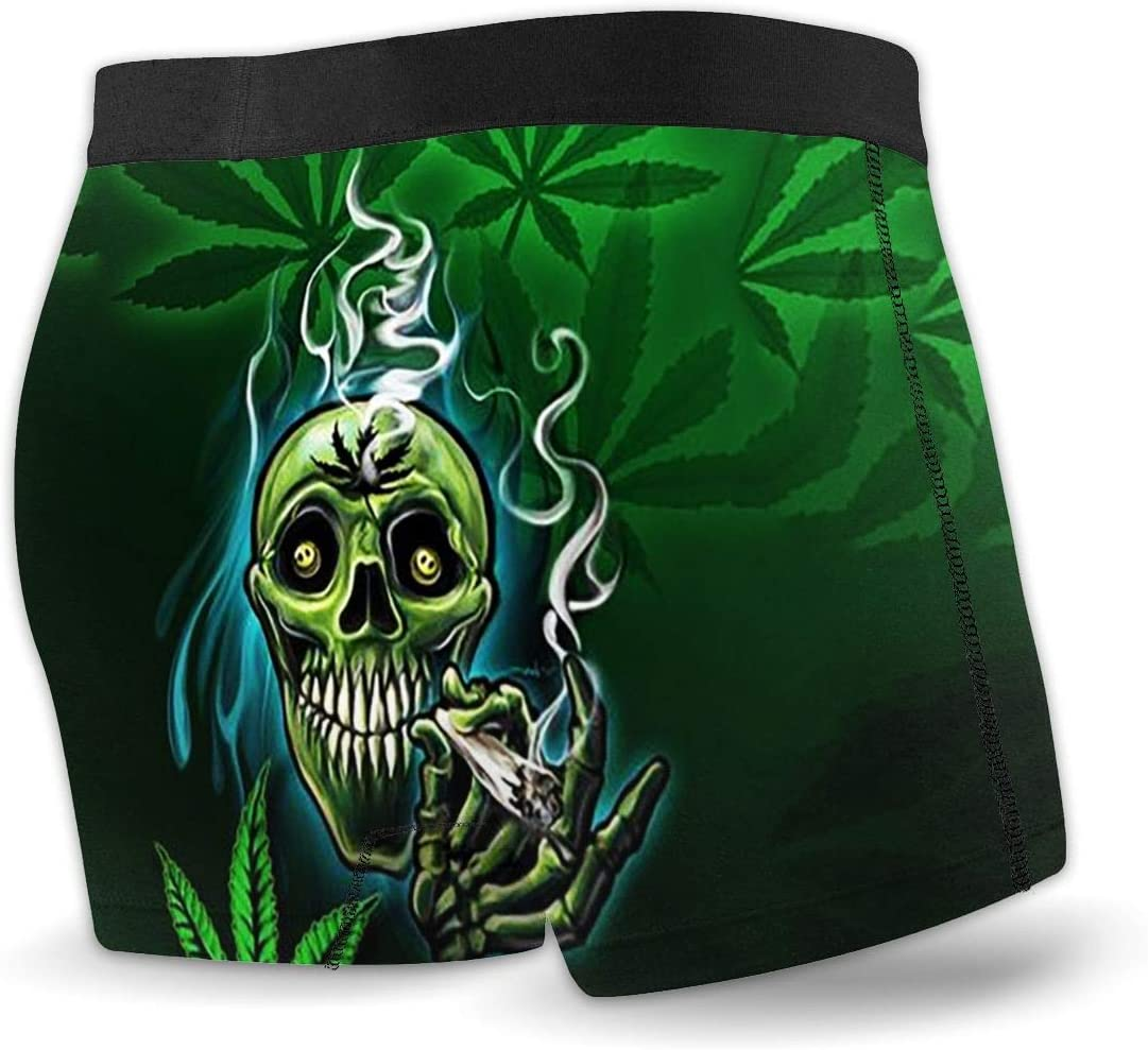 Weed Smoke Skull Marijuana Pot 420 Mens Youth Classic Fit Stretch Knit Boxer Briefs Cooling Ultra-Light Open Fly Underwear Gift