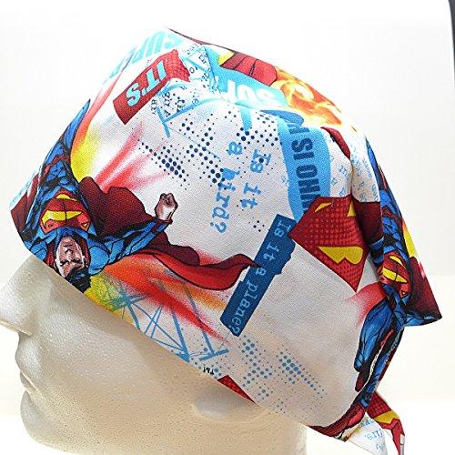 Scrub Hat Cap, Handmade in USA, Superman White