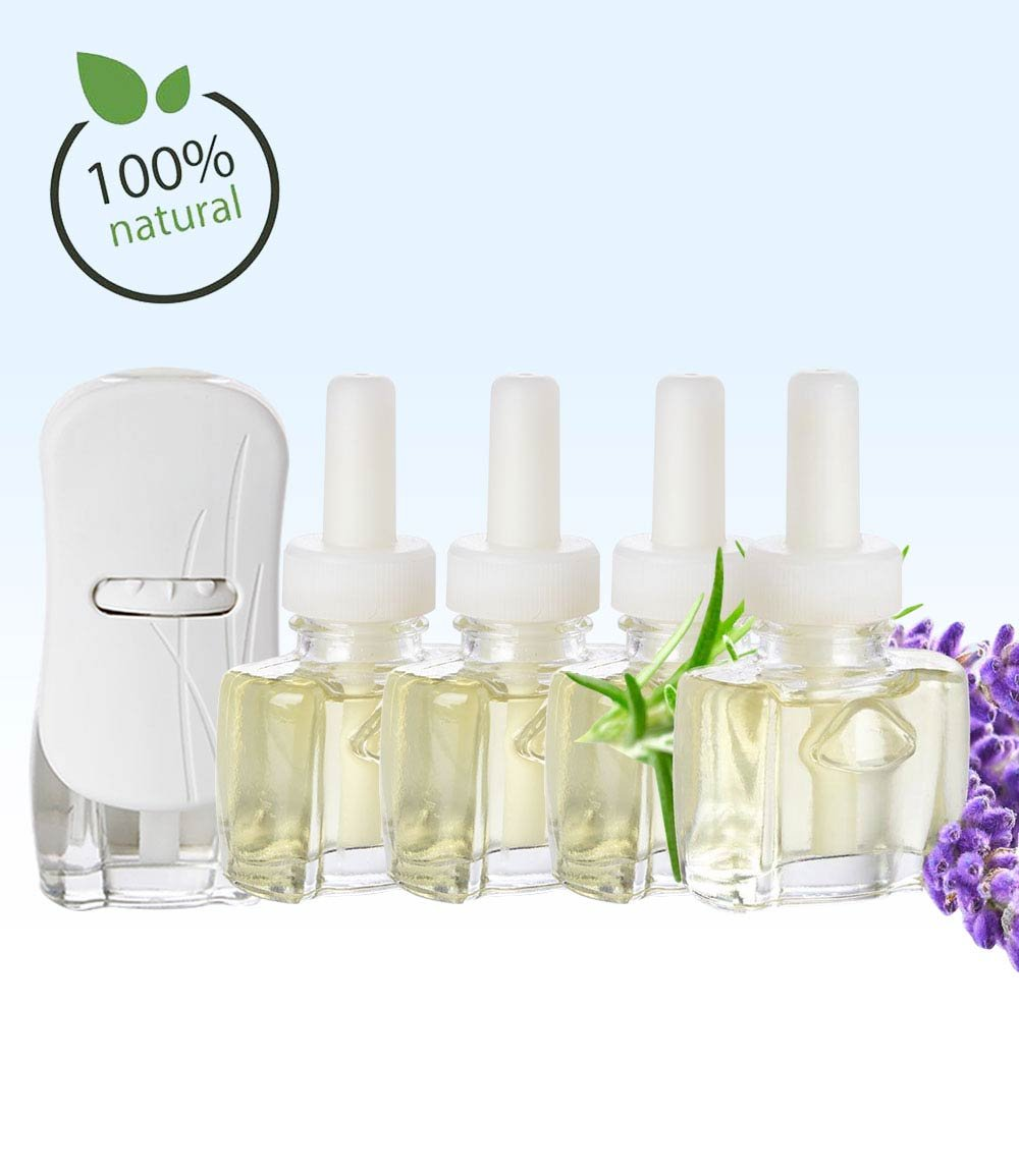 (4 Pack) 4 100% Natural Lavender Scent Fill® Brand plug in refills AND (1) Glade® PlugIn Warmer